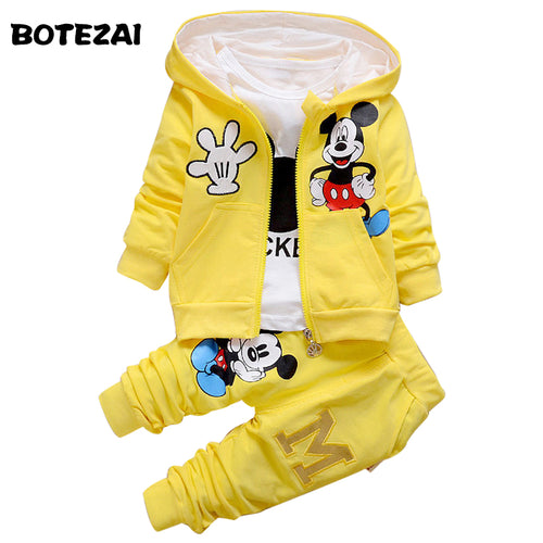 2017 New Chidren Kids Boys Clothing Set Autumn Winter 3 Piece Sets Hooded Coat Suits Fall Cotton Baby Boys Clothes Mickey - Baby clothing, toys, shoes, mum & dad products