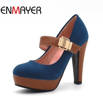 ENMAYER Rome Style Platform Shoes for Women Fashion Thick Heel Pumps Ladies Dress Casual Shoes Women Sexy High Heels Pumps - Baby clothing, toys, shoes, mum & dad products