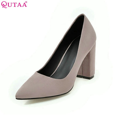 QUTAA Women Pumps Ladies Shoes Square High Heel Flock Slip On Elegant Pointed Toe Brown Woman Wedding Shoes Size 34-43 - Baby clothing, toys, shoes, mum & dad products