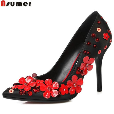 Asumer high quality genuine leather shoes woman fashion stiletto high heels simple slip on pointed toe popular pumps for women - Baby clothing, toys, shoes, mum & dad products