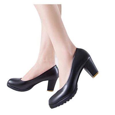HEE GRAND Women Pumps Classics Solid Black Candy Color PU Leather OL Shoes Woman Square Heel Slip-ons Plus Size 35-40 XWD2633 - Baby clothing, toys, shoes, mum & dad products