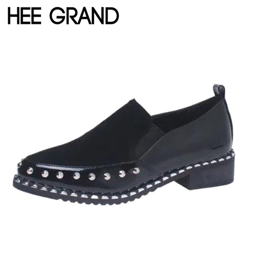 HEE GRAND Rivet Decoration Women Pointed Toe Women Thick Heel Oxfords Neutral Style Slip-on Woman's Shoes XWX6265 - Baby clothing, toys, shoes, mum & dad products