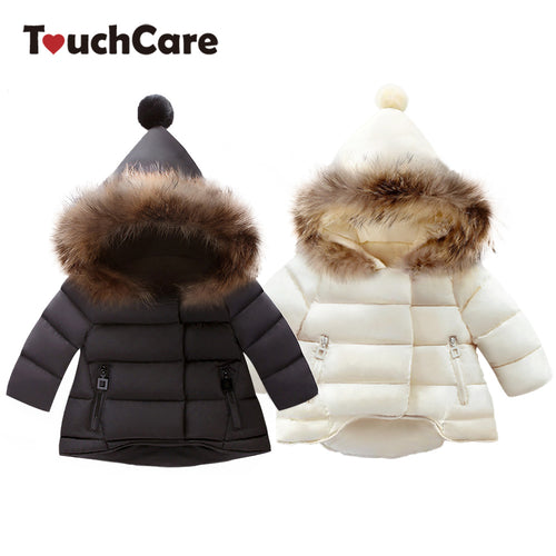 TouchCare Thicken Fur Hooded Children Snow Outerwear Down Parkas Kids Winter Warm Solid Coats Boy Girl Jacket Baby Clothing - Baby clothing, toys, shoes, mum & dad products