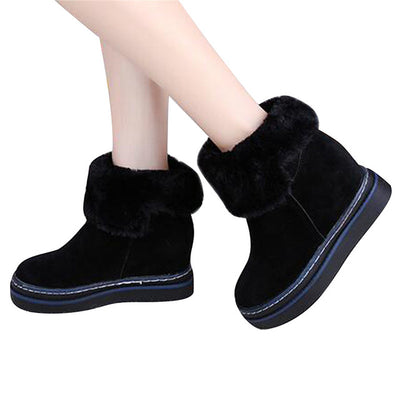 HEE GRAND Ankle Boots Women Sewing Slip On Leisure Shoes Women Height Increasing Thick Heel Winter Women Snow Boots XWX6385 - Baby clothing, toys, shoes, mum & dad products