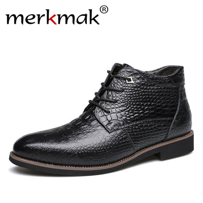 Merkmak Luxury Brand Men Winter Boots Warm Thicken Fur Men's Ankle Boots Fashion Male Business Office Formal Leather Shoes - Baby clothing, toys, shoes, mum & dad products