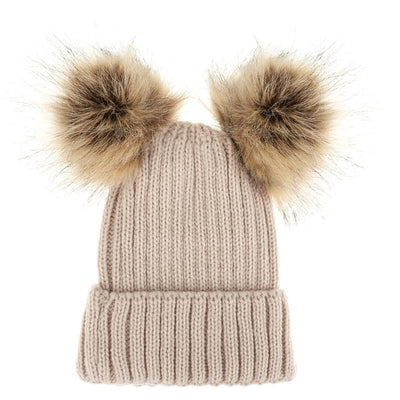 Fashion Parent-child Caps Cute Infant Baby Pompon Winter Hat Double Fur Ball Hat Mother Kids Warm Knitted Hat Newborn Beanie Cap - Baby clothing, toys, shoes, mum & dad products