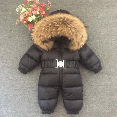 Russia Winter Baby Snowsuits kids Jumpsuit hold -25 18M-4T Boy Girls Warm natural fur Down Jacket Kids Clothes Infantil Rompers - Baby clothing, toys, shoes, mum & dad products