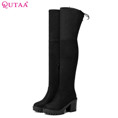 QUTAA  2018 Fashion Women Over The Knee Boots Suede/PU Round Toe Boots Zipper Synthetic Solid Ladies Motorcycle Boots Size 34-43 - Baby clothing, toys, shoes, mum & dad products