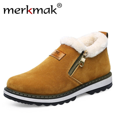 Merkmak Winter Men Snow Boots Brand Designer Shoes Mens Warm Short Plush Fashion Casual Shoes Men Ankle Boots New Year Christmas - Baby clothing, toys, shoes, mum & dad products