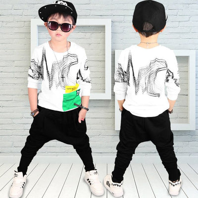 High quality 100% cotton 2017 autumn winter fashion new  white black children clothes kid boy clothing set for 4-10 years - Baby clothing, toys, shoes, mum & dad products