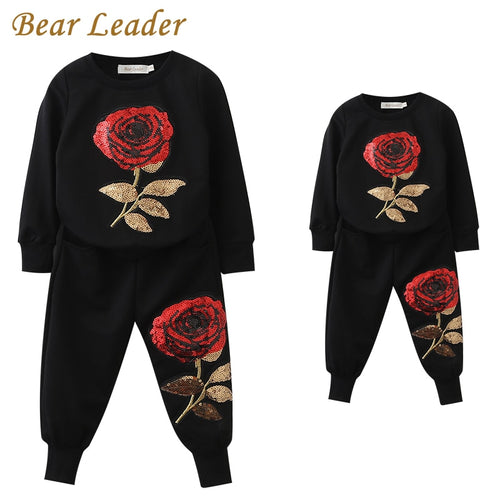 Bear Leader 2018 New Spring Style Family Matching Outfits Mother And Daughter Long Sleeve Rose Floral Sweatshirt+Pants 2Pcs Suit - Baby clothing, toys, shoes, mum & dad products