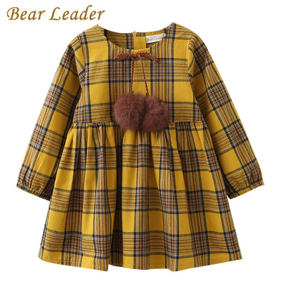 Bear Leader Girls Dress 2018 New Spring Brand Girls Clothes England Style Printing Bow Design Baby Yellow Girls Dress For 3-7Y - Baby clothing, toys, shoes, mum & dad products