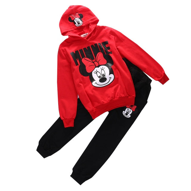 2pcs Baby Girls Kids Minnie Mouse Clothes Set Long Sleeve Hooded Coat Pants Oufits Clothes Set 2-7Y - Baby clothing, toys, shoes, mum & dad products