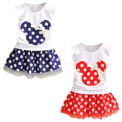 Minnie Mouse Clothes Set Kids Baby Girls Summer Outfits Clothes Sleeveless T-shirt Tops Polka Dot Tutu Skirt Party - Baby clothing, toys, shoes, mum & dad products