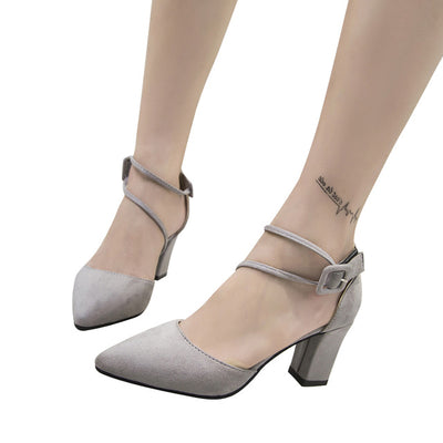 HEE GRAND Fashion Women Flock Sandals Summer Sexy Square High Heels Faux Suede Wedding Shoes Woman Elegant Pumps Ladies XWD6346 - Baby clothing, toys, shoes, mum & dad products