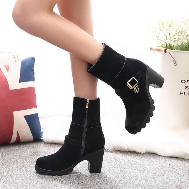HEE GRAND Women Ankle Boots Platform Winter Boots 2017 High Heels Casual Shoes Woman Slip On Women  Shoes Size 35-40 XWX4434 - Baby clothing, toys, shoes, mum & dad products