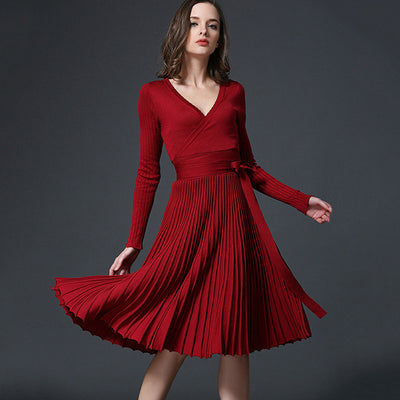 Voobuyla Elegant Winter Spring Dress 2018 New Office Dresses For Women Decorative Sashes V-Neck Solid One Size Vintage Vestidos - Baby clothing, toys, shoes, mum & dad products