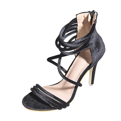 HEE GRAND Sexy Cross Tied Women Pumps 2018 Summer Flock Supper High Heels Shoes Beautiful Wedding Shoes Woman 3 Colors WXG491 - Baby clothing, toys, shoes, mum & dad products