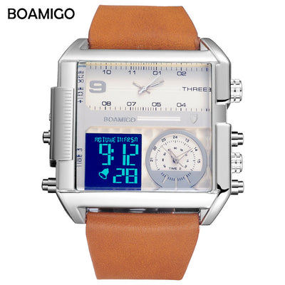 men 3 time zone watches BOAMIGO brand man sports digital analog watches leather rectangle wristwatches waterproof gift clock - Baby clothing, toys, shoes, mum & dad products
