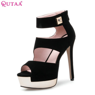 QUTAA 2018 Women Pumps Ladies Shoes Black Zipper Elegant Thin High Heel Scrub Platform Peep Toe Woman Wedding Shoes Size 34-39 - Baby clothing, toys, shoes, mum & dad products