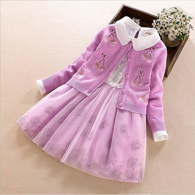 Children's clothing set 2017 autumn winter Sweater coat+shirt+skirt 3pcs lace flowers Kids girls cotton clothes 7 8 10 13 years - Baby clothing, toys, shoes, mum & dad products