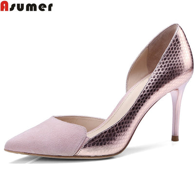 ASUMER black pink thin heel 8cm pointed toe shallow elegant wedding shoes woman spring autumn women genuine leather shoes - Baby clothing, toys, shoes, mum & dad products