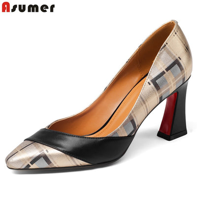 ASUMER Plus size 34-43 new top quality genuine leather shoes woman pointed toe summer women pumps high heels ladies dress shoes - Baby clothing, toys, shoes, mum & dad products