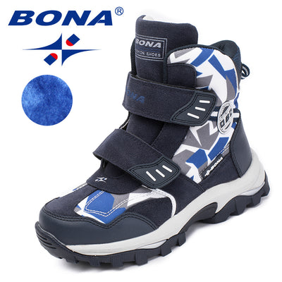 BONA New Popular Style Children Boots Hook & Loop Boys Winter Shoes Round Toe Girls Ankle Boots Comfortable Fast Free Shipping - Baby clothing, toys, shoes, mum & dad products