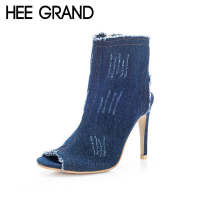 HEE GRAND Denim Women Thin Heel Pumps 2018 Retro Women High Heels Peep Toe Spring Shoes Slip On Pumps WXG531 - Baby clothing, toys, shoes, mum & dad products