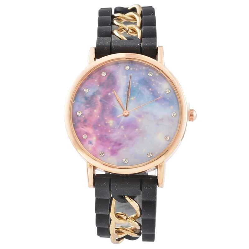 Doreen Box Silicone Casual Fashion Starry Sky Chain Quartz Wrist Watches Women Jewelry Round Battery Included 24cm Long, 1 Piece - Baby clothing, toys, shoes, mum & dad products