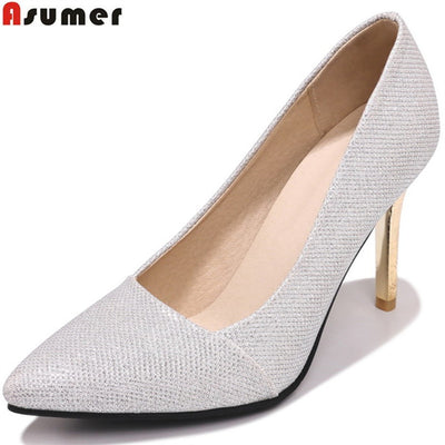 ASUMER fashion spring autumn pumps shoes woman pointed toe shallow elegant wedding shoes women high heels shoes plus size 33-46 - Baby clothing, toys, shoes, mum & dad products