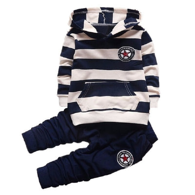 Hot sell autumn Fashion Girl Boys Clothing Sets Long Sleeve Striped Hoodies Unisex Suits 2pcs Children Clothes Hooded For Kids - Baby clothing, toys, shoes, mum & dad products