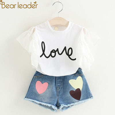Bear Leader Girls Clothing Sets 2018 New Summer Short T-shirt+Love Print Pants 2Pcs for Kids Clothing Sets Baby Clothes - Baby clothing, toys, shoes, mum & dad products