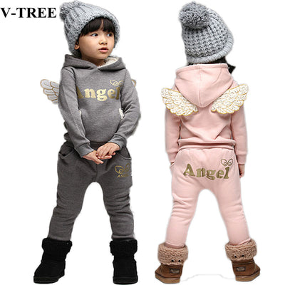V-TREE Children Clothing Set Fleece Sports Suit For Boy Winter Toddler Suits For Girls Wings Kids Tracksuit Baby School Costume - Baby clothing, toys, shoes, mum & dad products
