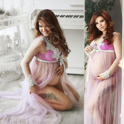 Pregnant Women Lace Up Long Sleeve  Maternity Dress Ladies Maxi Gown Photography Photo Shoot Clothing Clothes - Baby clothing, toys, shoes, mum & dad products