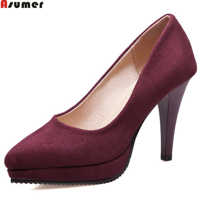 ASUMER black wine red 2018 spring autumn ladies pumps pointed toe shallow elegant dress shoes women high heels shoes size 43 - Baby clothing, toys, shoes, mum & dad products
