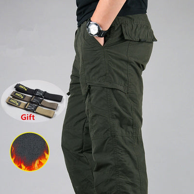 Men's Cargo Pants Winter Thicken Fleece Cargo Pants Men Casual Cotton Military Tactical Baggy Pants Warm Trousers Plus size 3XL - Baby clothing, toys, shoes, mum & dad products