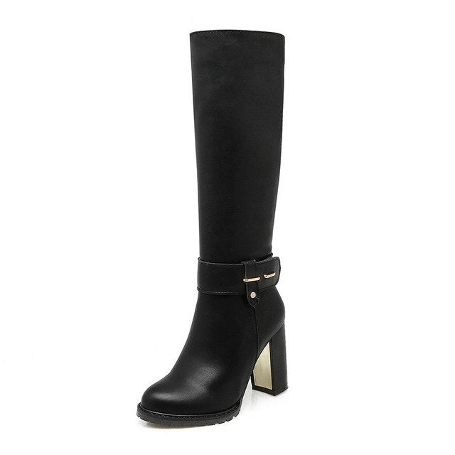 QUTAA Western Style PU leather 2016 Square High Heel Zipper Knee High Boots Women Shoe Motorcycle Boots Riding Boot size 34-43 - Baby clothing, toys, shoes, mum & dad products