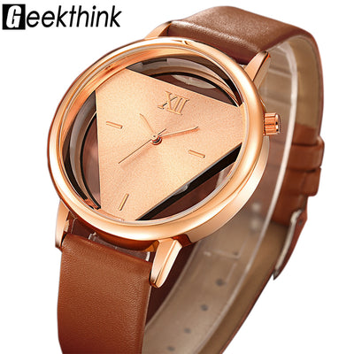 GEEKTHINK Hollow Quartz Watch Women Luxury Brand Gold Ladies Casual Dress Leather Strap Clock Female Girls Trending - Baby clothing, toys, shoes, mum & dad products