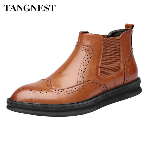 Tangnest NEW Autumn Men's Chelsea Boots Vintage Cow Split Leather Ankle Boots For Men Casual Brogue Shoes Big Size 38~47 - Baby clothing, toys, shoes, mum & dad products