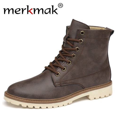 Merkmak Men Boots Genuine Leather Winter Autumn Men Ankle Boots Britain Style Shoes Men Boots Lace Up Shoes Top Quality Boots - Baby clothing, toys, shoes, mum & dad products