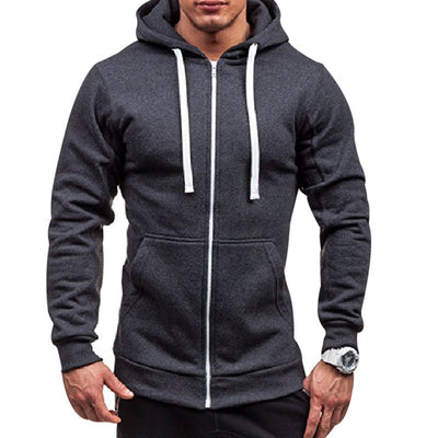 Plus Size Men's Hoodies Tracksuit 2018 Autumn Winter Drawstring Pocket Hooded Sweatshirt Long Sleeve Zip Slim Coat Male Jacket - Baby clothing, toys, shoes, mum & dad products