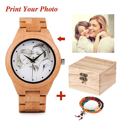 Personality Creative Design Customers Photos UV Printing Customize Wooden Watch Customization Laser Print OEM Great Gift Watches - Baby clothing, toys, shoes, mum & dad products