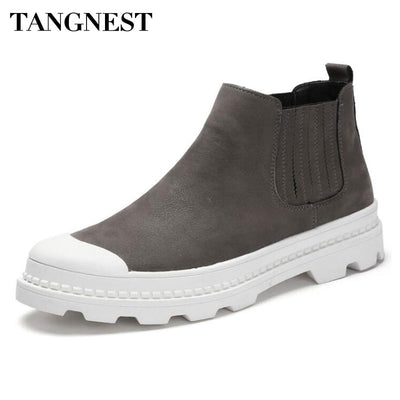 Tangnest Men's NEW Autumn Chelsea Boots Casual PU Leather Slip-on Rubber Shoes For Male Round Toe Comfortable Ankle Boots XMM192 - Baby clothing, toys, shoes, mum & dad products