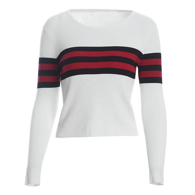 Wixra 2018 Pullovers Sweaters Slim O Neck Striped Sweater All Base Match Knitted Women's Clothing Autumn Winter New - Baby clothing, toys, shoes, mum & dad products