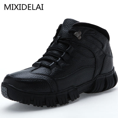 MIXIDELAI Super Warm Winter Men Boots Genuine Leather Boots Men Winter Shoes Men Military Fur Boots For Men Shoes Zapatos Hombre - Baby clothing, toys, shoes, mum & dad products