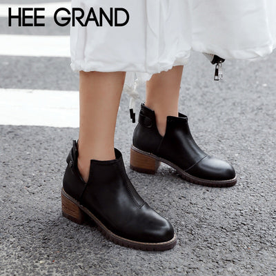 HEE GRAND Motrcycle Boots Rubber Women Ankle Boots Square Heels Platform Shoes Woman Casual Slip On Flat Women Shoes XWX6838 - Baby clothing, toys, shoes, mum & dad products