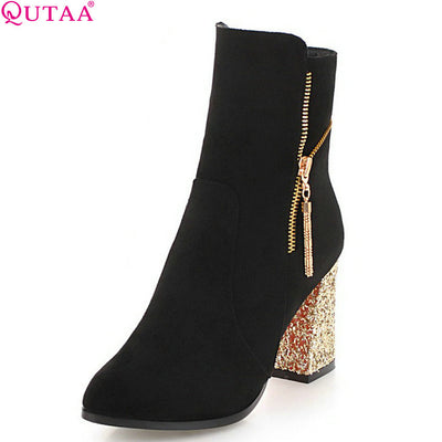 QUTAA 2019 Woman's Shoes Platform Flock Winter Shoes All Match Platform Zipper Elegant Causl Women Ankle Boots Size 34-43 - Baby clothing, toys, shoes, mum & dad products