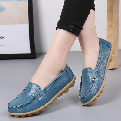 Genuine leather shoes woman 2018 fashion slip-on women flat shoes casual loafers round toe solid female shoes plus size 35-44 - Baby clothing, toys, shoes, mum & dad products