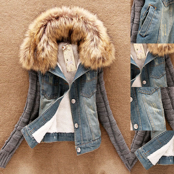 2018 Fashion Good Quality Winter Women Jeans Coat Fleece Short Denim Jacket Slim Fur Collar Outerwear Tops - Baby clothing, toys, shoes, mum & dad products